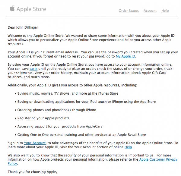 Dear John Dillinger Welcome to the Apple Online Store.